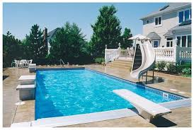 Backyard Pool With Slide Rectangle Pool With Slide And Diving Board Swimming Pools