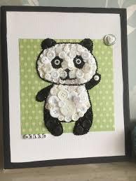 Panda Nursery Decor by Button Canvas Hello Panda Handmade Canvas Button Art