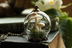 mushroom terrarium necklace miniature terrarium jewelry