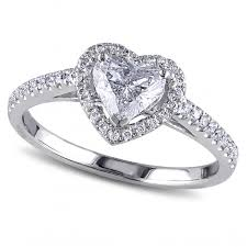 heart shaped engagement ring heart shaped diamond halo engagement ring 14k white gold 1 00ct