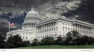 Washington Dc Flag Capitol Building Washington Dc With Waving Flag In The Background