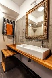 Mirror In A Bathroom Luxury Mirror And Wash Basin In A Modern Bathroom Stock Photo
