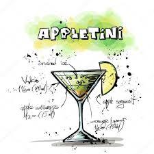 appletini hand drawn illustration of cocktail appletini u2014 stock vector
