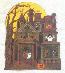 vintage halloween decorations reproductions vintage hallmark halloween die cut out decoration haunted house