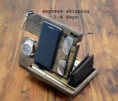 desk phone stand organizer anniversary gift for men wood organizer gift for him
