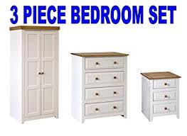 Capri WhitePine  Piece Bedroom Furniture Package Wardrobe Chest - White pine bedroom furniture set