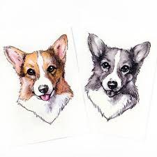 lazy duo animal temporary tattoo sticker corgi chow chow
