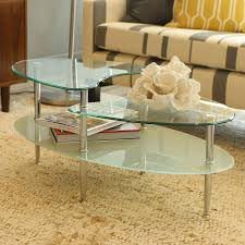 amazon com walker edison glass oval coffee table kitchen u0026 dining