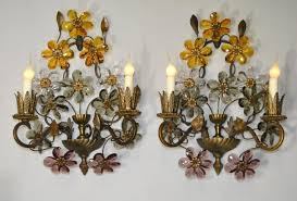 Vase Wall Sconce Vintage Gold Leaf Flower Wall Lamp For Sale At Pamono Decorative