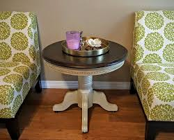 Country Coffee Table by Solid Oak Round End Table Refinished In Annie Sloan Country Grey
