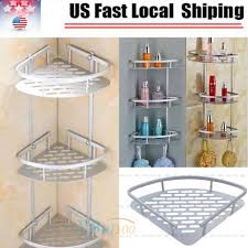 3 tier corner shower caddy basket bathroom chrome cosmetic shelf