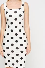 polka dot bodycon dress white black just 5
