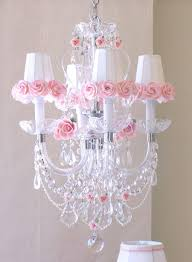 Pink Chandelier Light Crystal Chandelier Pink Porcelain Roses Shades The Frog And The