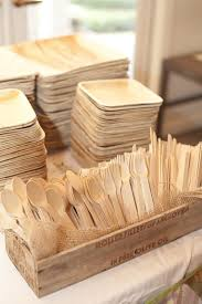 cheap wedding plates eco friendly palm leaf plates and wooden cutlery photo by mandy