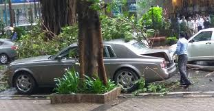 tree falls on 4 crore rupee rolls royce phantom in mumbai here u0027s