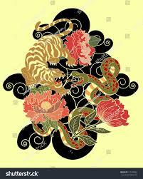 snake tiger tattoo peony flowertraditional japanese stock vector