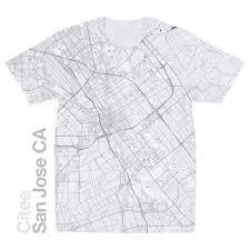 San Jose California Map Citee Fashion San Jose Ca Map T Shirt