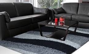 Designer Modern Rugs Contemporary Modern Shag Black Gray Area Rug Waves Shaggy Floor