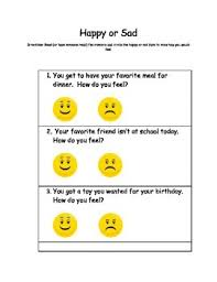 happy or sad worksheet created for autism support classroom by