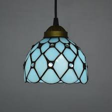 Stained Glass Light Fixtures Dining Room Entranching Pendant Light Mediterranean Sea Style Lake