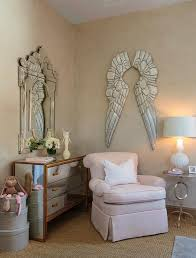 pink nursery glider with pewter angel wings french nursery