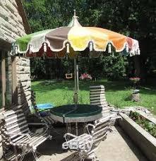 vintage vinyl 8 ft patio outdoor umbrella rainbow tassels pagoda mcm