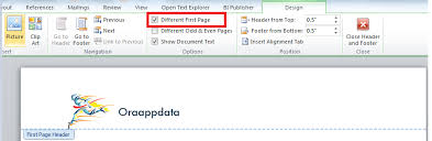 how to show different header on first page of rtf template bi