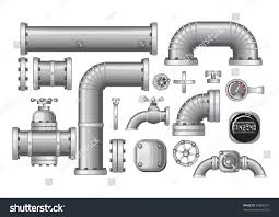 Faucet Pipes Vector Collection Pipe Pipeline Isolated Construction Stock Vector