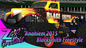 monster truck jam anaheim rigs of rods monster jam anaheim 2015 blacksmith freestyle youtube