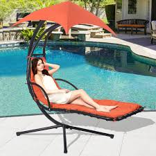 Folding Hammock Chair Hanging Chaise Lounge Chair With Canopy Hammocks Outdoor