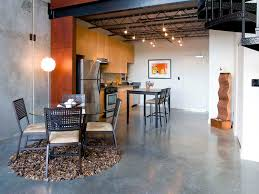 design ideas polished concrete floor and round area rug in