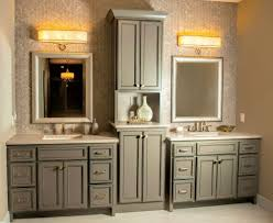 glazed master bath vanity with double sinks and recessed linen
