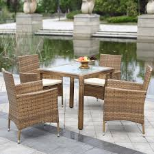 rattan kitchen furniture ikayaa 5pcs rattan patio dining table chair set cushion kitchen