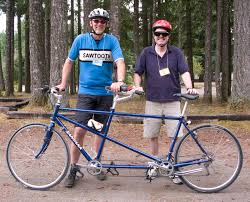 Blind Man Rides Bike Tandem Cycling At Lighthouse For The Blind Deaf Blind Retreat