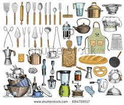 kitchen utensils appliances isolated sketches cooking stock vector