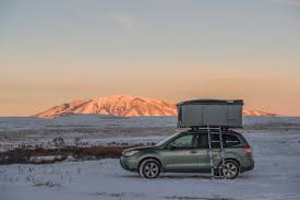 subaru forester snow cold weather camping in a roofnest roofnest