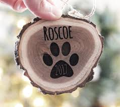 personalized pet christmas ornament engraved wood slice ornament