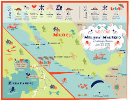 Cabo San Lucas Mexico Map by As Seen On Style Me Pretty Custom Fun Wedding Map Vineyard
