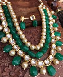gemstone necklace sets images Buy kundan and pearls necklace set with green onyx gemstones online jpg