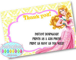 printable thank you cards princess thank you 4x6 etsy