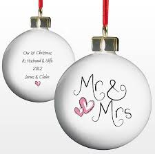 personalised mr mrs bauble mr mrs my