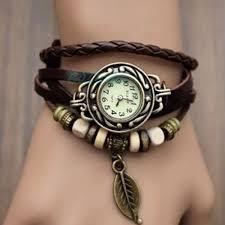 quartz bracelet wrist watches images Vintage quartz faux leather tree leaf decoration bracelet women jpg