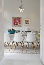 White Dining Table And Coloured Chairs White Dining Room With Colour Decor Dining Rooms Boho Chic Idea
