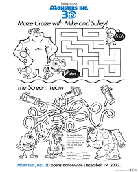 free monsters inc 3d activity sheets download coloring pages here
