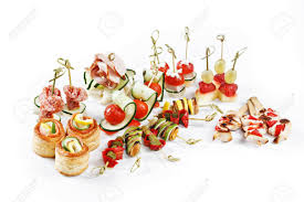 canapes for set of canapes for one person with vegetables cheese fruits