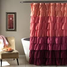 bathroom pink ruffle curtains with cupboard and white wall for