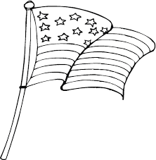 White American Flag American Flag Clipart Outline Pencil And In Color American Flag