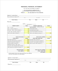 sample personal financial statement form 9 examples in pdf