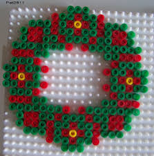 wreath christmas hama perler beads perle hama pinterest