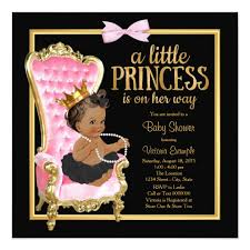 princess baby shower pink black gold chair ethnic princess baby shower card zazzle